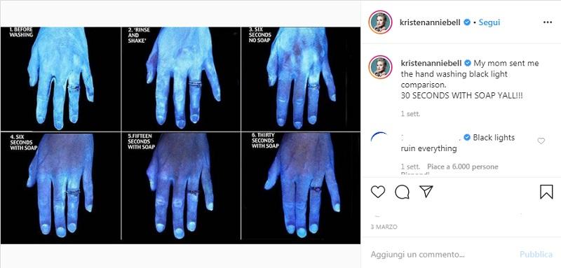 Lavare le mani con acqua e sapone: foto a confronto